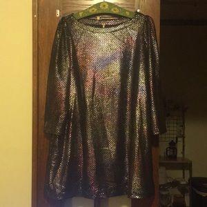 Free People 3/4 Sleeve Metallic Dress with Pockets